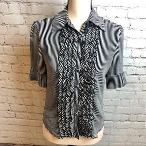Anne Klein Striped Ruffle Front Blouse